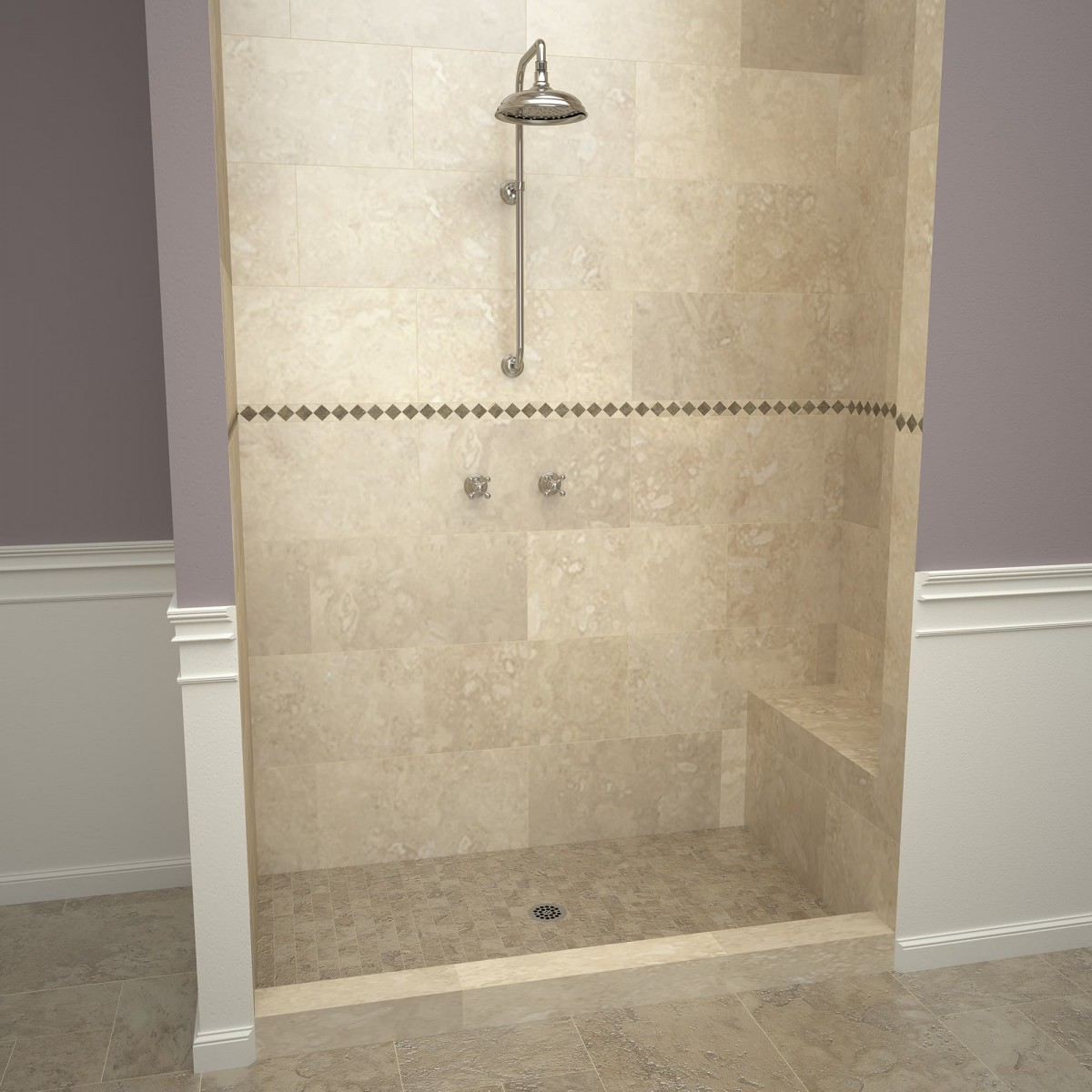 Redi Base Shower Pan And Bench 48 X 72 Center Drain Single Curb