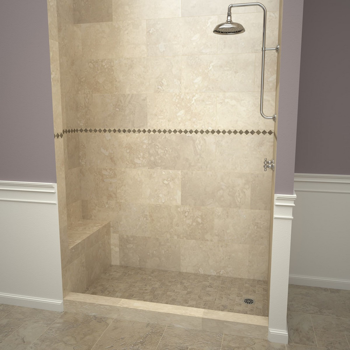 Redi Base Shower Pan And Bench 34 X 72 Right Drain Single Curb