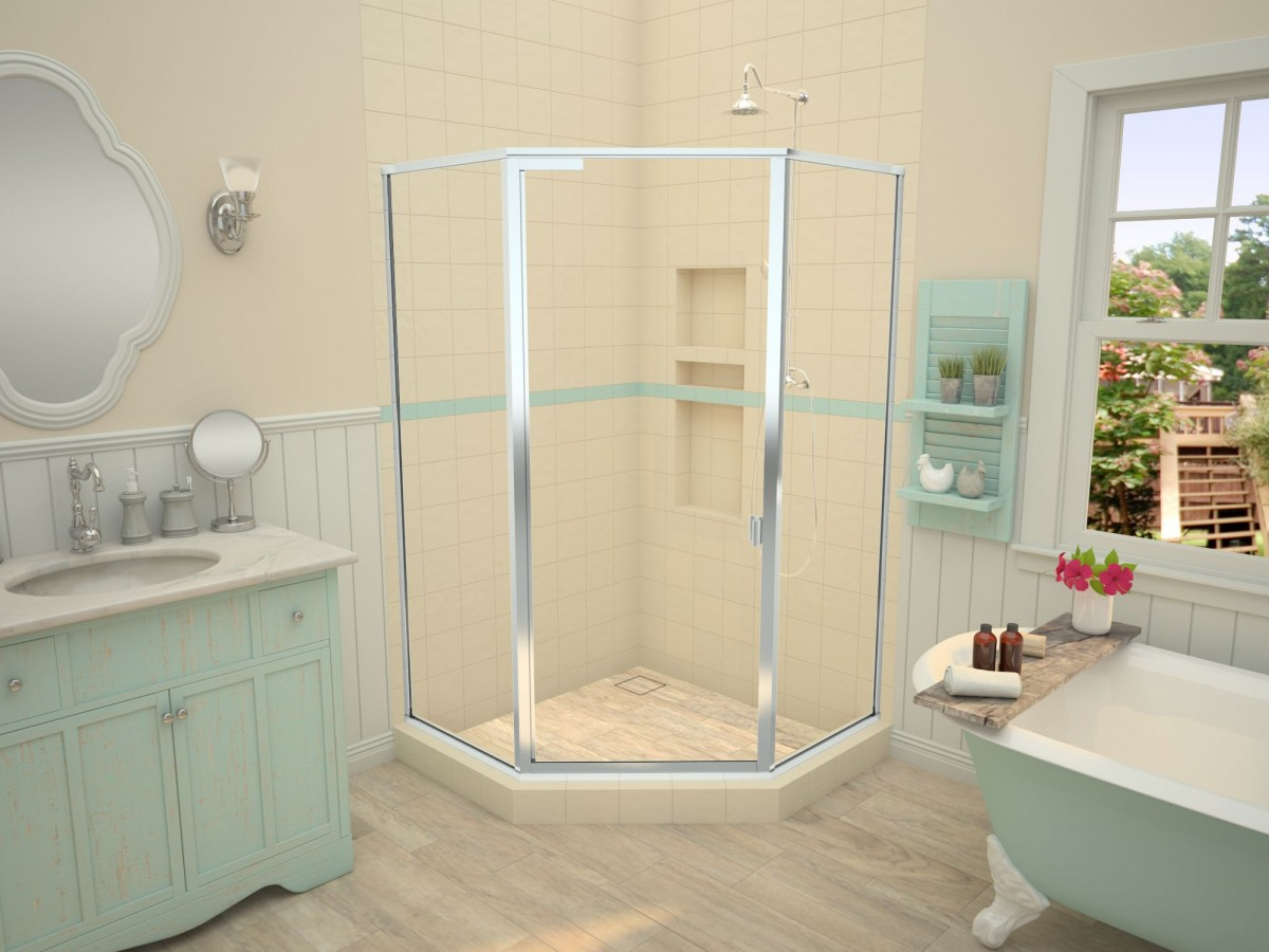 Redi Neo Neo Angle Shower Pan With Corner Wonder Drain 42 D X 42 W