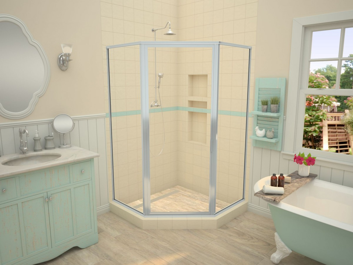 Redi Neo-Neo Angle Shower Pan, 36 x 36, Linear Trench Drain, Brushed ...