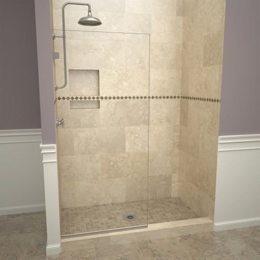 Base'N Door™ Shower Kit: 30″D x 60″W Shower Pan & 2000V Series Door with Brushed Nickel Finish and Clear Glass includes Niche & Flashing