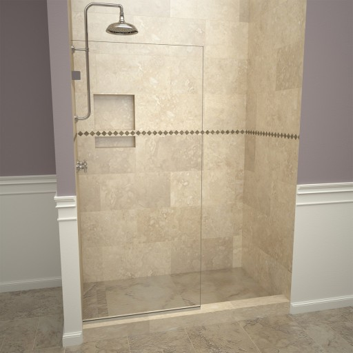 Base'N Door™ Shower Kit: 30″D x 60″W Shower Pan & 2000V Series Door with Polished Chrome Finish and Clear Glass includes Niche & Flashing