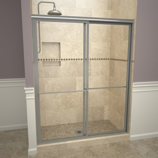 Base'N Door™ Shower Kit: 30″D x 48″W Shower Pan & 1100V Series Door with Brushed Nickel Finish and Clear Glass includes Niche & Flashing