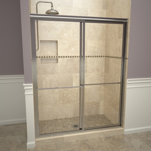 Base'N Door™ Shower Kit: 30″D x 48″W Shower Pan & 1100V Series Door with Polished Chrome Finish and Clear Glass includes Niche & Flashing