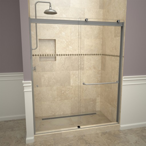Base'N Door™ Shower Kit: 34″D x 48″W Shower Pan & 3000V Series Door with Brushed Nickel Finish and Clear Glass includes Niche & Flashing