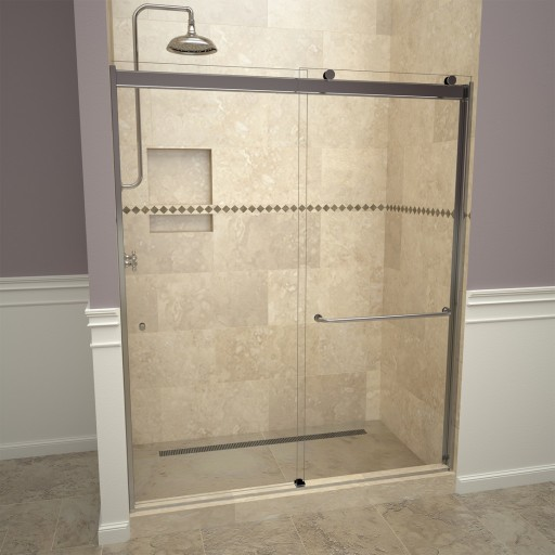 Base'N Door™ Shower Kit: 34″D x 48″W Shower Pan & 3000V Series Door with Polished Chrome Finish and Clear Glass includes Niche & Flashing