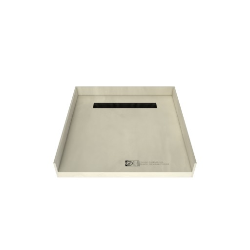 46 inch D x 48 inch W, Fully Integrated Barrier Free Shower Pan with Back PVC Drain, Back Trench with Designer Matte Black Grate
