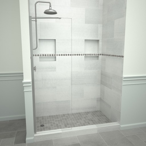 5400 Series 24 in. W x 76 in. H Semi-Frameless Shower Screen in Brushed Nickel with Clear Glass