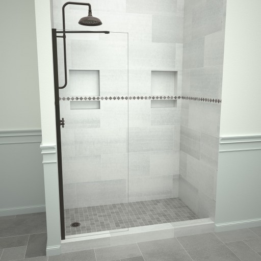 5400 Series 24 in. W x 76 in. H Semi-Frameless Shower Screen in Oil Rubbed Bronze with Clear Glass