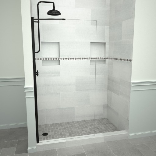5400 Series 36 in. W x 76 in. H Semi-Frameless Shower Screen in Matte Black with Clear Glass