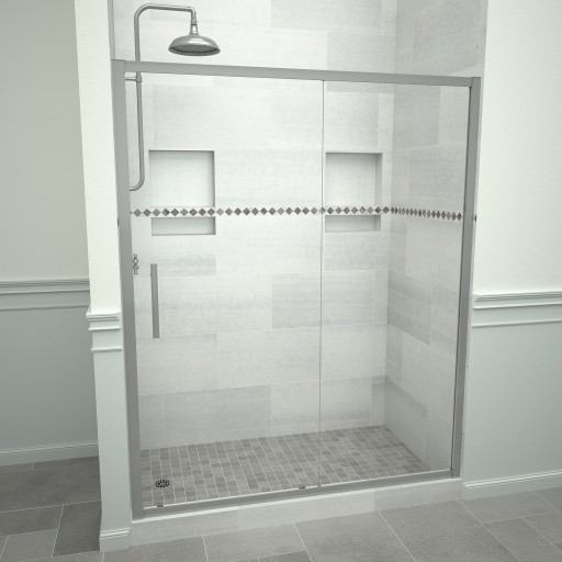 5000 Series 47-in W x 76-in H Framed Sliding Shower Door in Brushed Nickel with Through the Glass Pull Handle and Clear Glass
