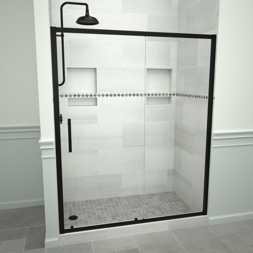 5000 Series 47-in W x 76-in H Framed Sliding Shower Door in Matte Black with Through the Glass Pull Handle and Clear Glass