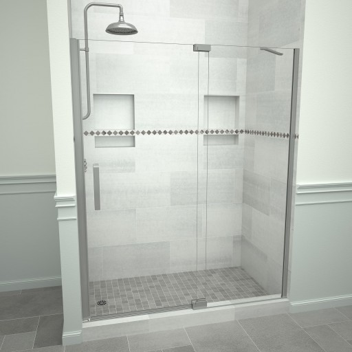 5200 Series 47-in W x 76-in H Semi-Frameless Swing Shower Door in Brushed Nickel with Through the Glass Pull Handle and Clear Glass
