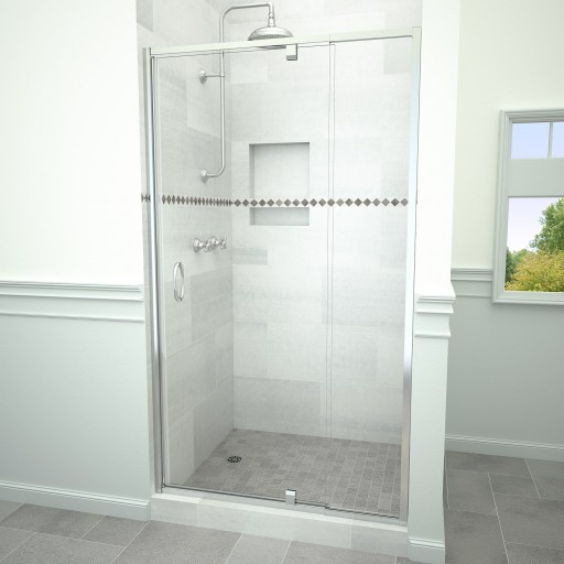 5100 Series 36-in W x 72-in H Framed Swing Shower Door in Polished Chrome with Through the Glass Pull Handle and Clear Glass
