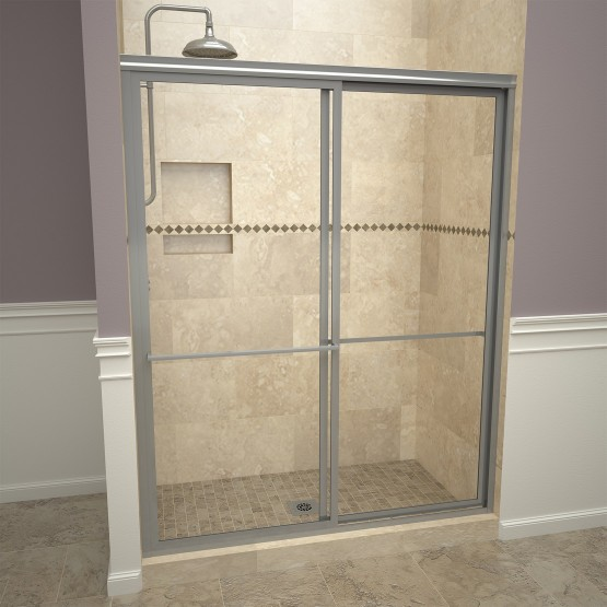 Base'N Door™ Shower Kit: 30″D x 60″W Shower Pan & 1100V Series Door with Brushed Nickel Finish and Clear Glass includes Niche & Flashing