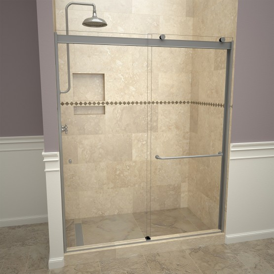 Base'N  Door™ Shower Kits include Pan, Door, Niche and Flashing.