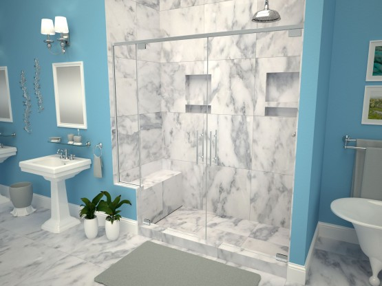 Base'N Bench® with WonderFall Trench™ Shower Pans