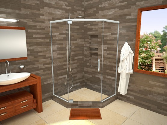 Neo Angle Shower Pan With Linear Drain & Tileable Drain Top, 36″D x 36″W