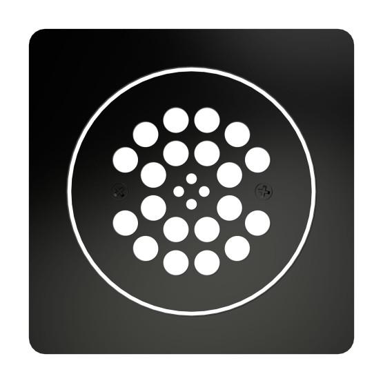 Redi Drain® Matte Black 2-Piece Drain Plate Set, 4¼″ diameter drain plate & 5¾″ square plate trim