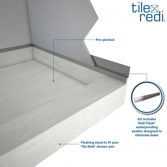 Redi Base Shower Pan And Bench 34 X 60 Center Drain