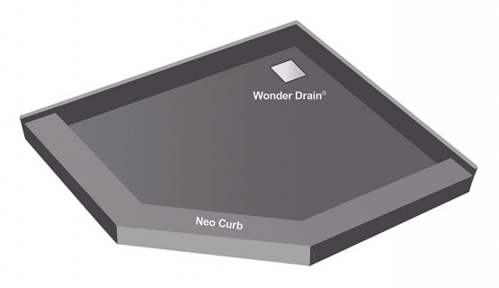 Redi Neo® Neo Angle Shower Pan With Corner Wonder Drain, 42u2033D X