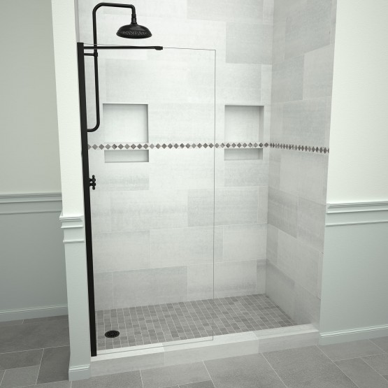 5400 Series 30 in. W x 76 in. H Semi-Frameless Shower Screen in Matte Black with Clear Glass