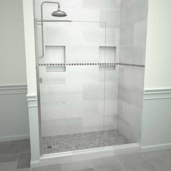 5400 Series 36 in. W x 76 in. H Semi-Frameless Shower Screen in Polished Chrome with Clear Glass