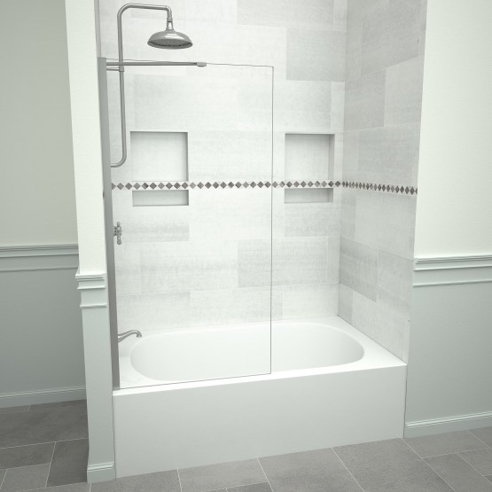 5400 Series 30 in. W x 60 in. H Semi-Frameless Tub Screen in Brushed Nickel with Clear Glass