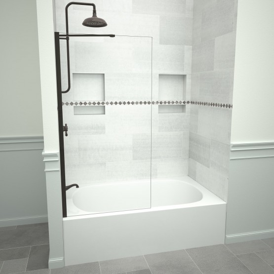 5400 Series 30 in. W x 60 in. H Semi-Frameless Tub Screen in Oil Rubbed Bronze with Clear Glass