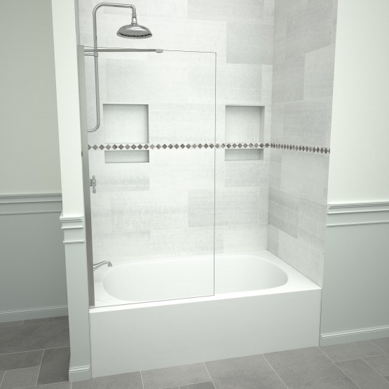 5400 Series 30 in. W x 60 in. H Semi-Frameless Tub Screen in Polished Chrome with Clear Glass