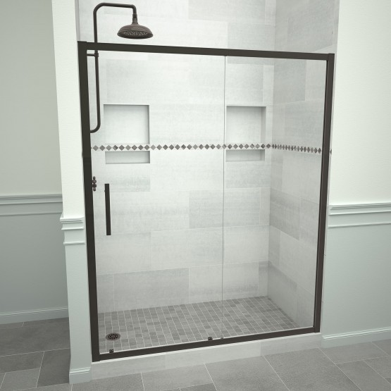 5000 Series 47-in W x 76-in H Framed Sliding Shower Door in Oil Rubbed Bronze with Through the Glass Pull Handle and Clear Glass