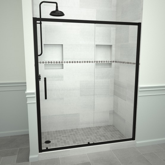 5000 Series 59-in W x 76-in H Framed Sliding Shower Door in Matte Black with Through the Glass Pull Handle and Clear Glass