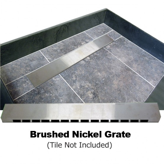 Kit: Redi Trench Left Drain Single Curb Shower Pan With Brushed Nickel  Solid Grate,