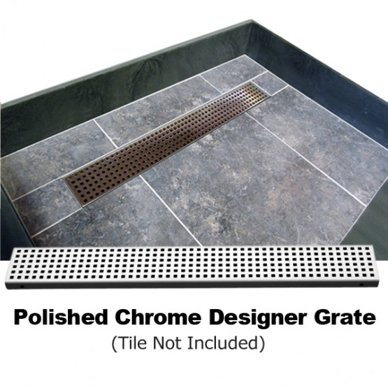 Redi Trench Shower Pan 48 X 72 Left Trench Drain Single Curb Polished Chrome Designer Grate