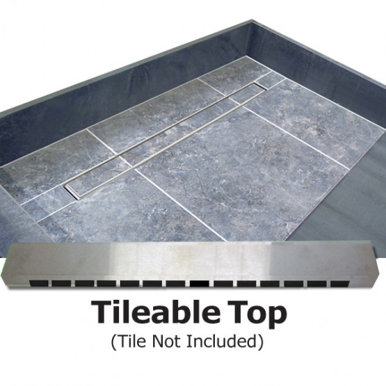 Single Curb Shower Pan With Center Trench Drain   Tileable Drain Top. Redi Trench Shower Pan  42 x 60  Center Trench Drain  Single Curb
