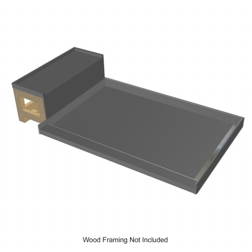 Base'N Bench® Kit: WonderFall Trench Right Drain Single Curb Shower Pan, 48″D x 60″W x 17″H installed (Pan: 48″D x 48″W; Bench: 44″D x 12″W)