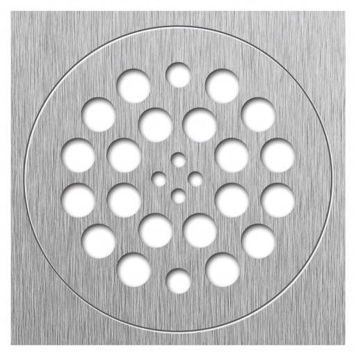 Redi Drain® Brushed Nickel 2-Piece Drain Plate Set, 4¼″ diameter drain plate & 5¾″ square plate trim