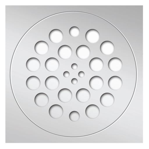 Redi Drain® Polished Chrome 2-Piece Drain Plate Set, 4¼″ diameter drain plate & 5¾″ square plate trim