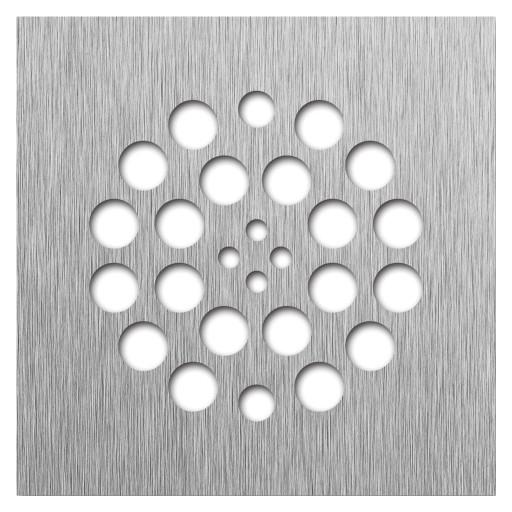 Redi Drain® Brushed Nickel Drain Plate, 4¼″ square