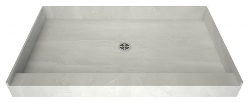 Redi Base® Single Curb Shower Pan With Center Drain, 36″D x 48″W