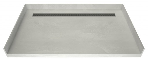 Redi Trench® Barrier Free ADA Shower Pan With Back Linear Drain & Brushed Nickel Designer Grate, 42″D x 63″W