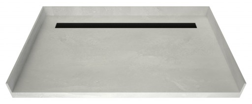 Redi Trench® Barrier Free ADA Shower Pan With Back Linear Drain & Matte Black Designer Grate, 34″D x 63″W