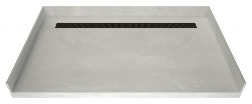 Redi Trench® Barrier Free ADA Shower Pan With Back Linear Drain & Oil Rubbed Bronze Designer Grate, 32″D x 63″W