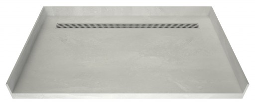 Redi Trench® Barrier Free ADA Shower Pan With Back Linear Drain & Polished Chrome Designer Grate, 42″D x 63″W
