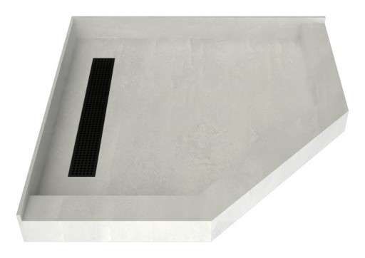 Redi Neo® Neo Angle Shower Pan With Linear Drain & Matte Black Designer Grate, 36″D x 36″W