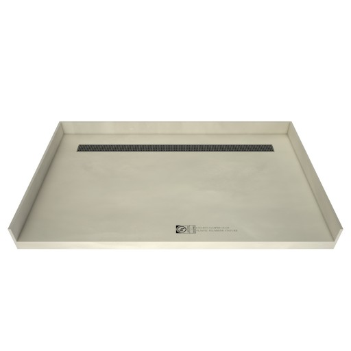 42 inch D x 48 inch W, Fully Integrated Barrier Free Shower Pan with Back PVC Drain, Back Trench with Designer Brushed Nickel Grate