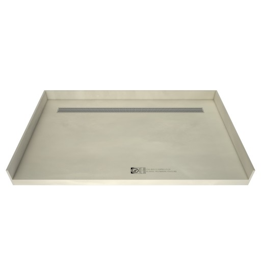 30 inch D x 48 inch W, Fully Integrated Barrier Free Shower Pan with Back PVC Drain, Back Trench with Designer Polished Chrome Grate
