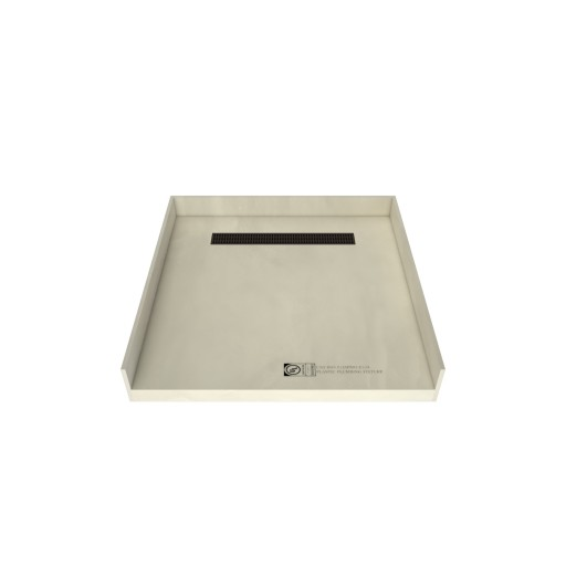 48 inch D x 48 inch W, Fully Integrated Barrier Free Shower Pan with Back PVC Drain, Back Trench with Designer Oil Rubbed Bronze Grate