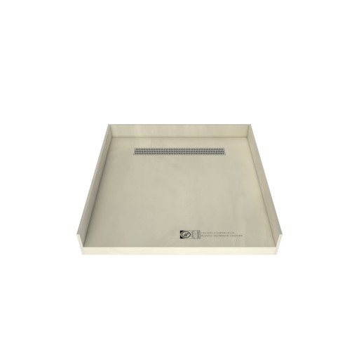 47 inch D x 48 inch W, Fully Integrated Barrier Free Shower Pan with Back PVC Drain, Back Trench with Designer Polished Chrome Grate