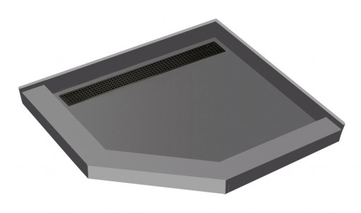 Redi Neo® Neo Angle Shower Pan With Linear Drain & Oil Rubbed Bronze Designer Grate, 36″D x 36″W